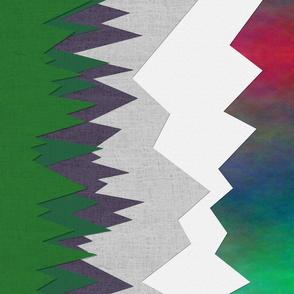 Mountain Range ~ Aurora Borealis ~ Border Print