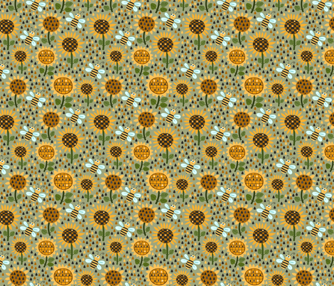 Sunflowers and bees fabric by valendji on Spoonflower - custom fabric
