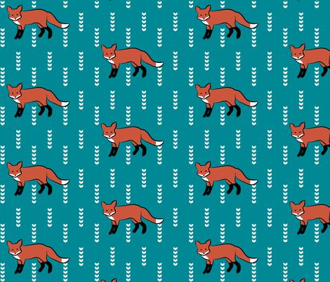 FoxOnTeal fabric by mrshervi on Spoonflower - custom fabric