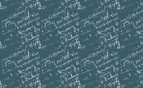 Sarah Green French script-ch-ch fabric by karenharveycox on Spoonflower - custom fabric