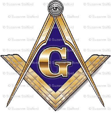 "Large 2"" Masonic Square Compass Gold White"