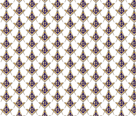 "Large 2"" Masonic Square Compass Gold White fabric by elemental-design on Spoonflower - custom fabric"