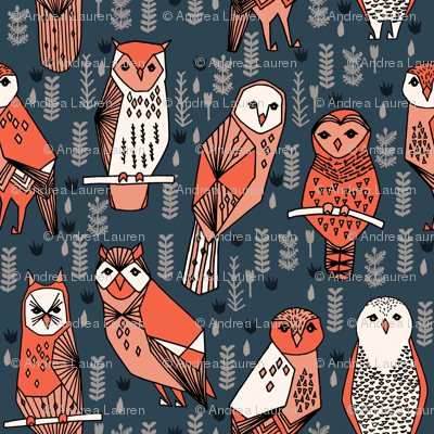 owls // navy blue orange coral hand-drawn illustration by Andrea Lauren