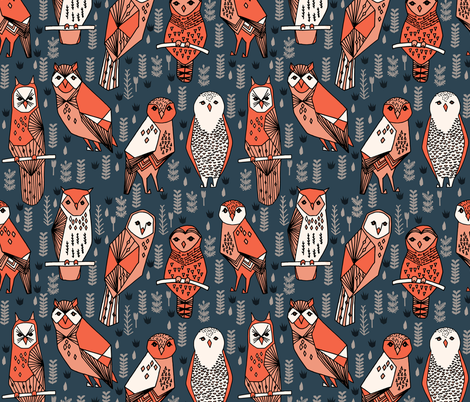 owls // navy blue orange coral hand-drawn illustration by Andrea Lauren fabric by andrea_lauren on Spoonflower - custom fabric