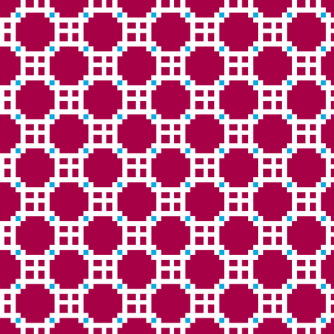 Eta Checks   -Cherry red and white with turquoise fabric by fireflower on Spoonflower - custom fabric