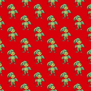 WOODLAND CREATURES LEAFY ELF on Red