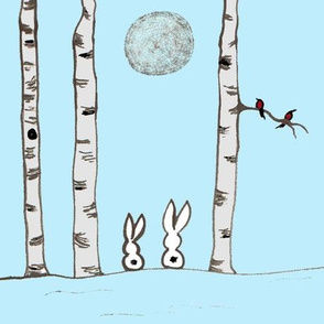 Birch Bunnies blue