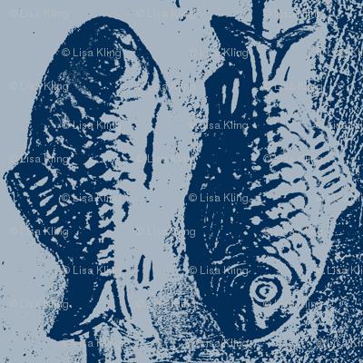 Fish Tiles - Silver/Blue Candy Lollipop Mold Fish