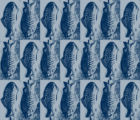Fish Tiles - Silver/Blue Candy Lollipop Mold Fish fabric by lisakling on Spoonflower - custom fabric