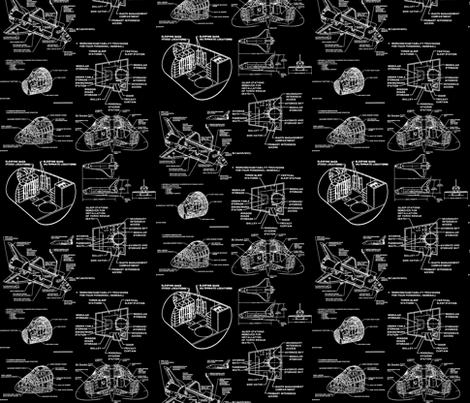 space shuttle black/white fabric by craftyscientists on Spoonflower - custom fabric
