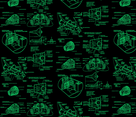 Space shuttle green fabric craftyscientists spoonflower for Space shuttle fabric