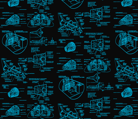Space shuttle blue fabric craftyscientists spoonflower for Space shuttle fabric