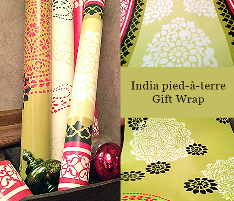 Holiday Traditional India Block Print Wrapping Paper