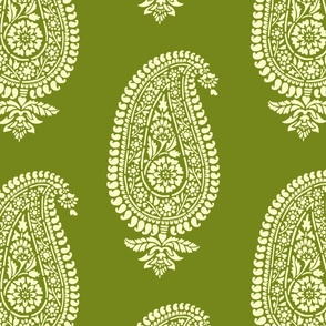 Holiday Green Paisley Block Print Wrapping Paper