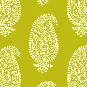 Holiday Chartreuse Paisley Block Print Wrapping Paper