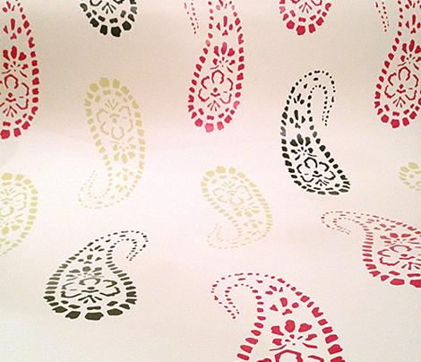 Holiday Boho Block Printed Paisley Wrapping Paper