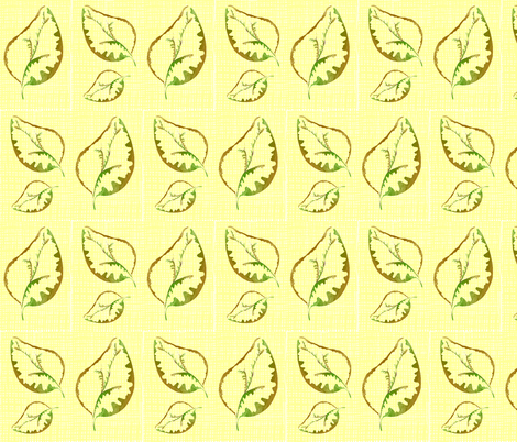 fabric_yellow_linen_with_leaves fabric by maryelainedegood_wheatley on Spoonflower - custom fabric
