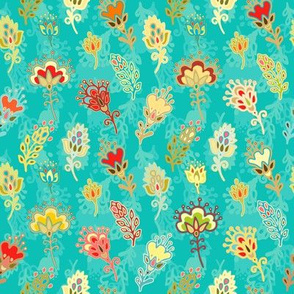Magic garden, floral pattern on turquoise background
