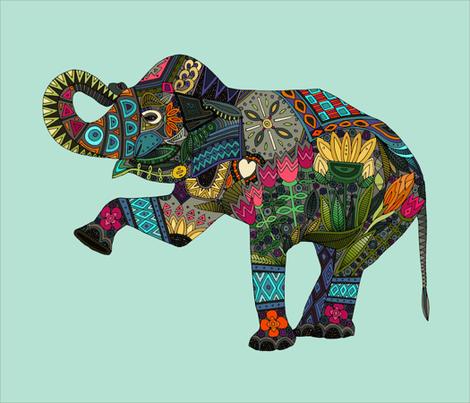 asian elephant aqua FQ panel fabric by scrummy on Spoonflower - custom fabric