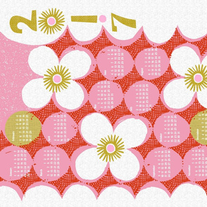 2017 dotty flowers tea towel calendar-21 inch