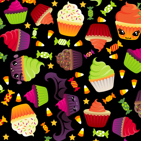 Spooky Halloween Cupcakes and Treats fabric by creativetaylor on Spoonflower - custom fabric