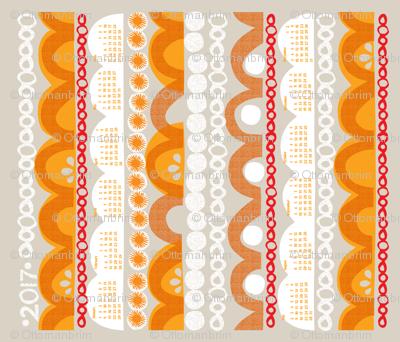 2017 citrus slice tea towel calendar-21 inch