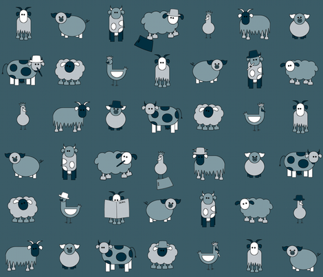 farm noir is watching you fabric by engelbam on Spoonflower - custom fabric