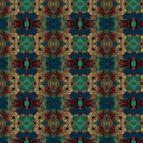 Ribbon Flowers in blues teals blk red Gold