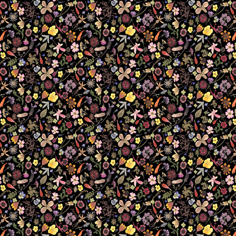 Super tiny calico dark floral fabric by mypetalpress on Spoonflower - custom fabric