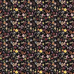 Super tiny calico dark floral