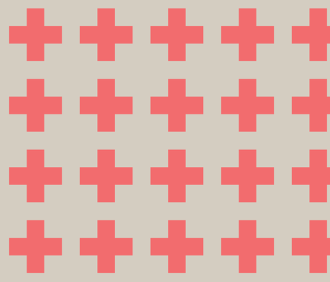 Coral cross on natural fabric by little_fish on Spoonflower - custom fabric