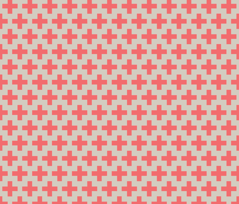 Coral cross on natural trellis fabric by little_fish on Spoonflower - custom fabric