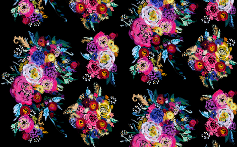 Bright Floral Painting on Black Background fabric by theartwerks on Spoonflower - custom fabric