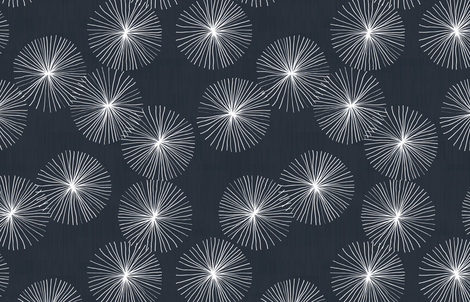 Dandelions in Black-Navy by Friztin fabric by friztin on Spoonflower - custom fabric