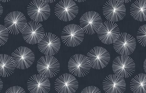 Dandelions M+M Navy Black by Friztin fabric by friztin on Spoonflower - custom fabric