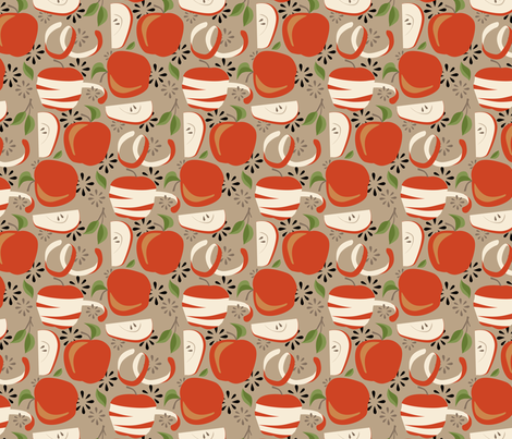 Apples for peeling_Tan fabric by robinpickens on Spoonflower - custom fabric