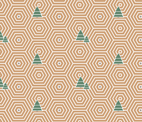 Hexagons and trees fabric by newmomdesigns on Spoonflower - custom fabric