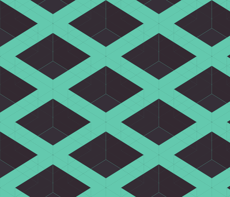 Teal Cubes by Friztin fabric by friztin on Spoonflower - custom fabric