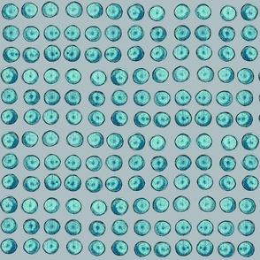 bingo dots, turquoise and gray