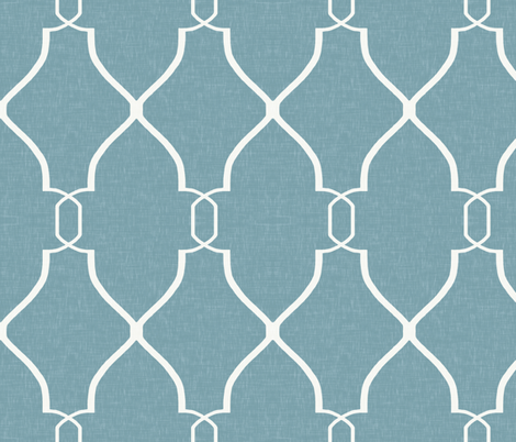 Laura Trellis in Sea Blue fabric by willowlanetextiles on Spoonflower - custom fabric