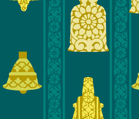 Holiday Temple Bell Block Print Wrapping Paper fabric by nomadic_decorator on Spoonflower - custom fabric