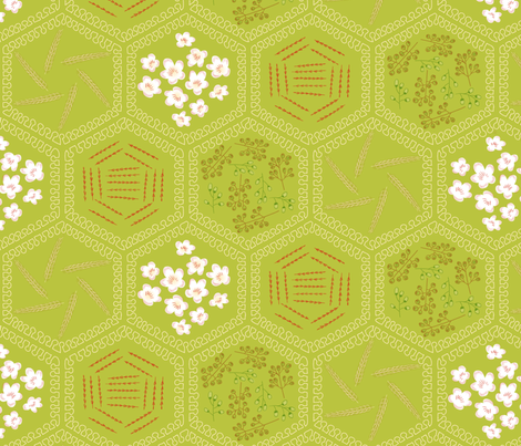I aspire to pie-ness (blossoms of apple, sugar, cinnamon, nutmeg, and wheat) fabric by mongiesama on Spoonflower - custom fabric