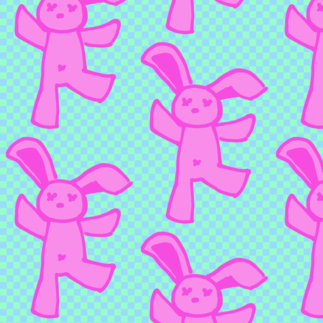 dancing bunny fabric by twistedblossom on Spoonflower - custom fabric