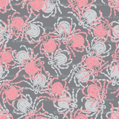 Wood Tick Grey and Pink
