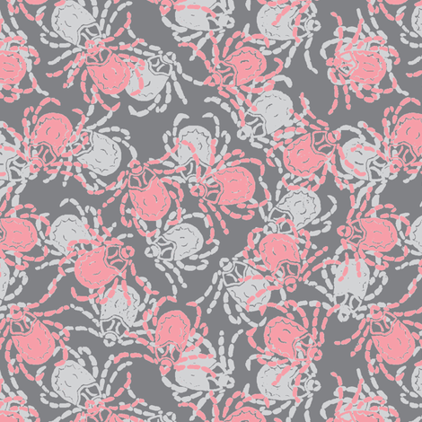 Wood Tick Grey and Pink fabric by murderbird on Spoonflower - custom fabric