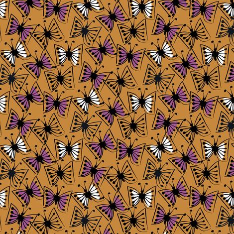 Flutterby - plum on caramel fabric by sara_smedley on Spoonflower - custom fabric
