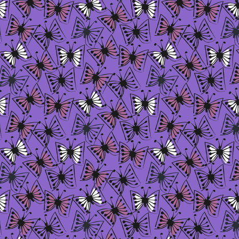 Flutterby - plum on violet fabric by sara_smedley on Spoonflower - custom fabric