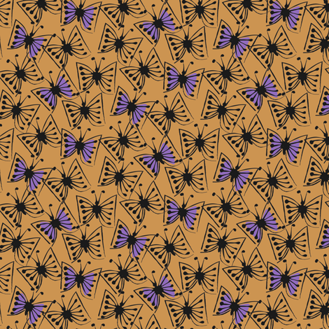 Flutterby - violet on caramel fabric by sara_smedley on Spoonflower - custom fabric