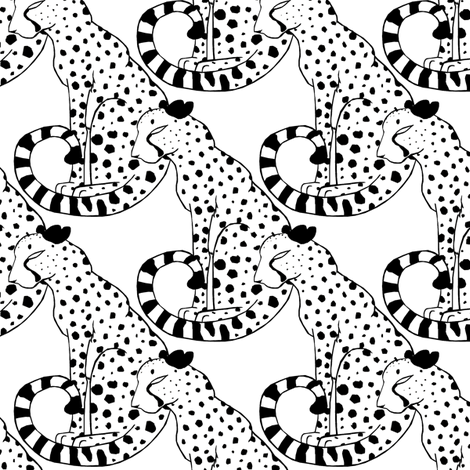 Black and White Cheetahs fabric by pond_ripple on Spoonflower - custom fabric