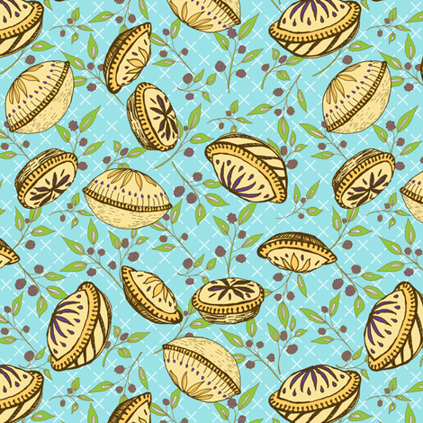 Brazenberry Pastry Treats on Sky Blue Lattice - Antique fabric by rhondadesigns on Spoonflower - custom fabric
